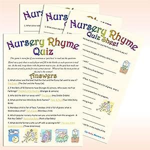 baby shower game nursery rhyme quiz 20 guest pack