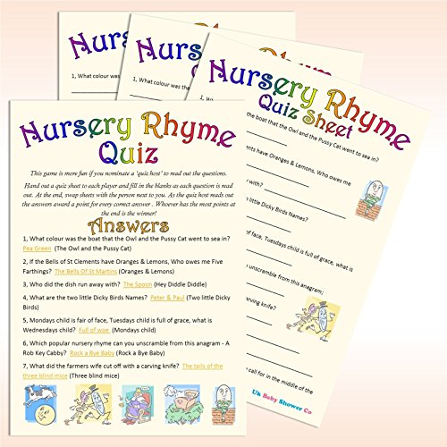 Baby Shower Game - Nursery Rhyme Quiz (20 Guest Pack)