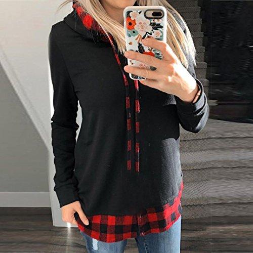 Winwintom Femmes Plaid à manches longues  pull à capuche Patchwork à carreaux Sweatshirt T-shirt Pull à capuche Chemisiers Noir