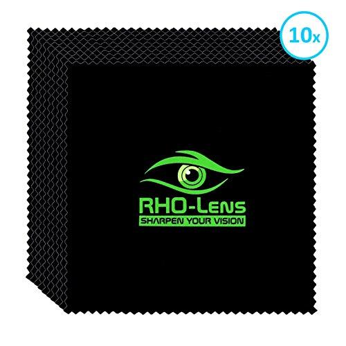 10x RHO-Lens® Premium Brillenputztuch (schwarz) aus Mikrofaser zur professionellen Reinigung von Brillen, Bildschirmen, Smartphones, Tablets, Objektiven, Notebooks und anderen sensiblen Oberflächen (Schwarze Microfaser-handtasche)