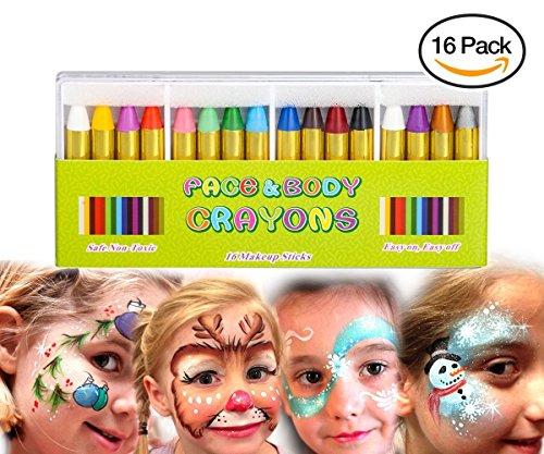 MiMoo 16 Farben Gesicht Malen Buntstifte, ungiftig Körperbemalung Sticks Körper Tattoo Buntstifte Kit für Kinder, Kleinkinder, Set von 16 (Schwarz Und Weiß Halloween Gesicht Malen)