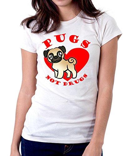 t-shirt pugs not drugs - maglietta simpatica carlino amanti animali cani e gatti da donna uomo S M L XL XXL maglietta by tshirteria bianco