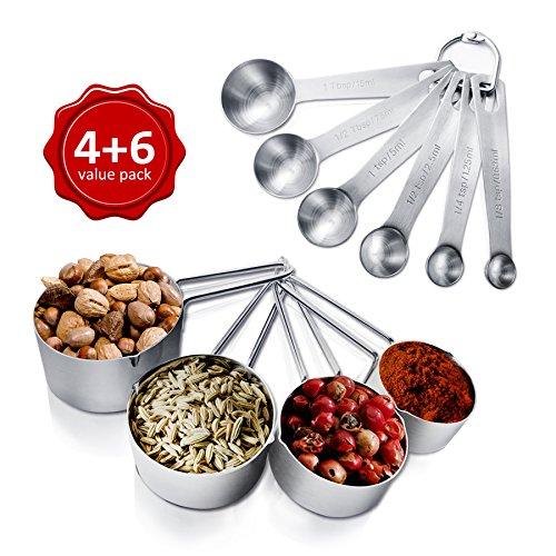 AckMond 10 piezas inoxidable cucharas de medición, taza de medición, para...