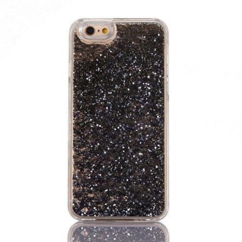Custodia per iPhone 6/6S 4.7 case cover,Herzzer Mode Crystal per iPhone 6/6S 4.7 Creativo Moving Sands liquido trasparente caso,lusso di Bling brillantini stelle glitter paillettes Cristallo Rose Re Nero