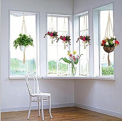 3er Pflanzenhänger mit S Haken,KAKOO Makramee Blumentopf Pflanzen Halter Blumenampel Aufhänger aus Jute Hängen Dekoration für Garten Haus von KAKOO auf Du und dein Garten