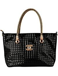 Lavu&me Women's Handbag (Black, Black PU Shoulder Handbag LE117)