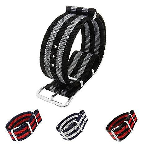 Mi-Watch Bond Bracelet de montre style NATO à 4rayures en nylon Combinaisons de coloris noir, bleu, blanc, rouge 18mm, 20mm ou 22mm, Zulu Nato, Black / Grey 4 Stripe