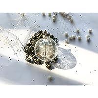 Collana con ciondolo in vetro soffiato e soffioni - dente di leone - semi di tarassaco - gioielli botanici con elementi naturali veri