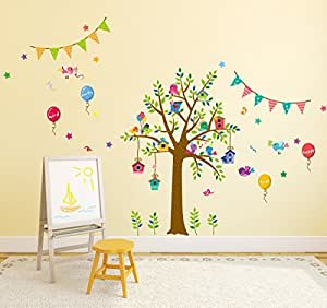 Amazon Brand - Solimo Wall Sticker for Living Room (Tree Party, Ideal Size on Wall: 140 cm x 80 cm)