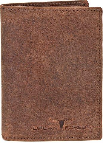 Leder Portemonnaie Geldbörse Lederbörse Brieftasche Geldbeutel im Hochformat aus hochwertigem Leder mit Veredelung und samtweicher Haptik in Schwarz, Braun oder Cognac von URBAN FOREST, Farbe:Braun