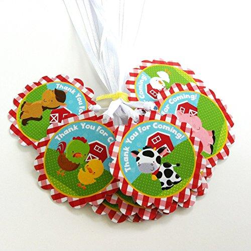 Adorebynat Party Decorations - EU Farm Animals Thank You Tag - I bambini della ragazza del ragazzo di compleanno Baby Shower partito Brand - Set 12