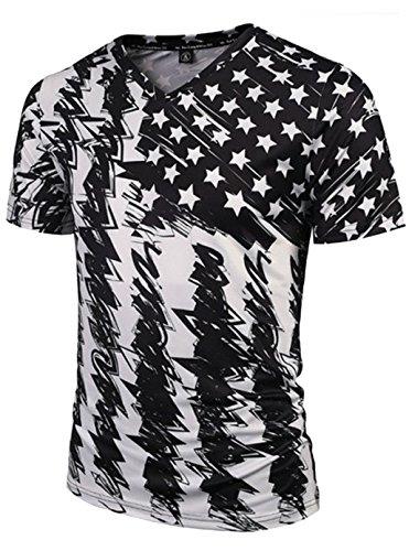 Leapparel Mens-amerikanische Flagge druckte Weinlese-Retro Grafik-T-Shirts T-Stücke Tops XXL (1 Sport-grafik-t-stücke)