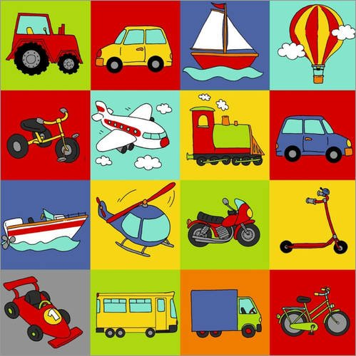 POSTERLOUNGE Canvas print 30 x 30 cm: transportation mosaic by Fluffy Feelings - ready-to-hang wall picture, stretched on canvas frame, printed image on pure canvas fabric, canvas print