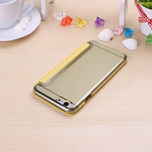 Wkae® iPhone 6S (4,7 pouces) Housse - Nouveau complexe Fen¨ºtre Vue flip Housse Folio pour iPhone 6(ne rentre pas dans l'iPhone 6 Plus de 5,5 pouces, l'iPhone 5 5S 5C 4 4S) (Rose) Jaune