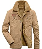 Adelina Herren Fleecejacke Winter Winddichte Military Jungen Jacke Outdoor Stoffjacke Canvas Langarm Revers Einreihig Wollmantel Coat (Color : 2 Khaki, Size : 2XL)