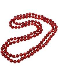 Beautiful TreasureBay 8 mm redondo rojo collar con colgante en forma coral longitud: 103 cm collar con colgante en forma presentada en estuche caja de regalo
