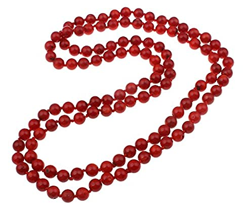 TreasureBay Beautiful 8mm round red coral necklace length: 120cm Necklace Presented in a Gift Box