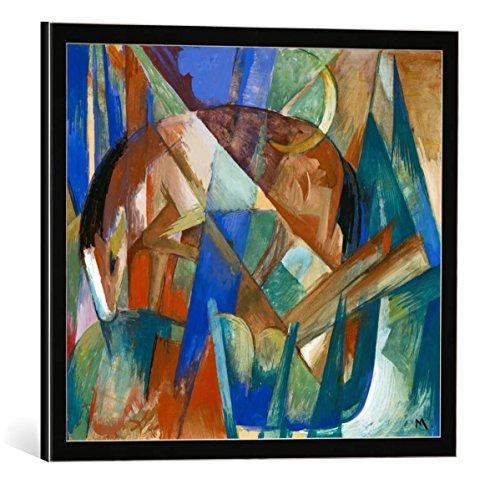 """Bild mit Bilder-Rahmen: Franz Marc """"Fabeltier II. - Pferd"""" - dekorativer Kunstdruck, hochwertig gerahmt, 45x40 cm, Schwarz / Kante grau"""