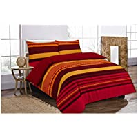 GoldStar® Retro Text Orange Double Duvet Cover Printed Quilt Cover Bedding Set With Pillow Case