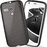 moex Motorola Moto G | Hülle Silikon Schwarz Brushed Back-Cover TPU Schutzhülle Ultra-Slim Handyhülle für Motorola Moto G 1. Generation Case Dünn Silikonhülle Rückseite Tasche