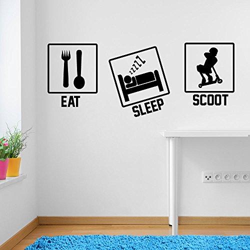 Stunt-Scooter Eat Sleep Scoot Sport Fenster Aufkleber Wall Decor Sticker Wall Art Aufkleber Sticker Wand Aufkleber Aufkleber Wandbild Décor DIY Deco Abnehmbare Wandaufkleber Colorful Aufkleber, Vinyl, 01 - Black, M