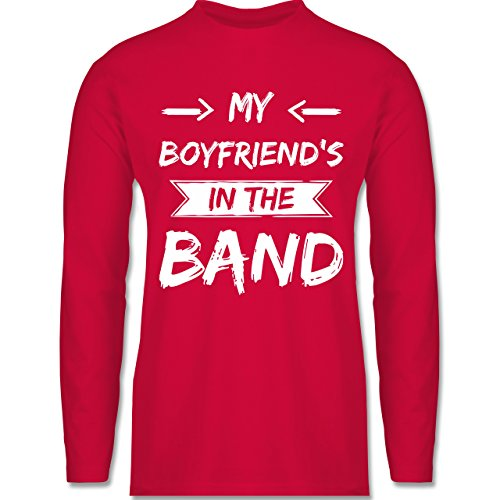 Shirtracer Statement Shirts - My Boyfriend's in The Band - Herren Langarmshirt Rot
