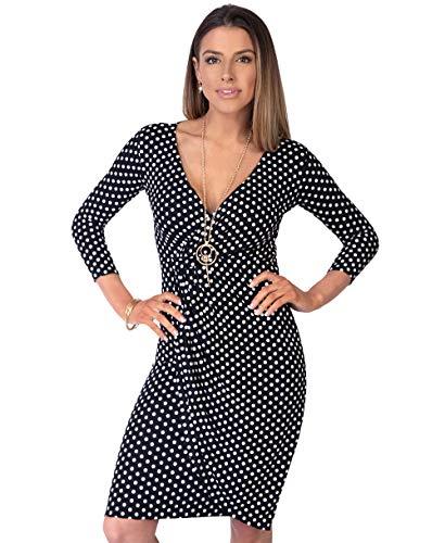 KRISP Vestido Moda Mujer Fruncido, Negro (6487), 42, 6487-BLK-14