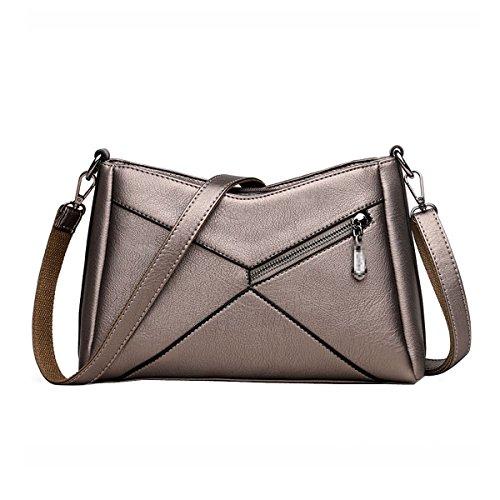 PU Leder Schulter Messenger Bags Für Frauen Damen Klassische Mode Cross-Body Taschen Nähte Mini Handtaschen,Gold-OneSize (Schulter Hobo Bag Große)