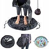 Muta, tappetino Essort Toy Storage Bag borsa impermeabile muta da surf in nylon Beach surf cambiare il trasporto borsa per cambio Tidy tappeto per bambini, circa 80cm di diametro, nero