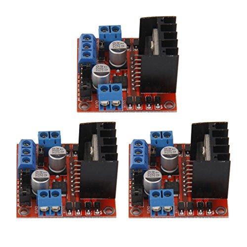 Homyl 3 x Doppel-H-Brücke DC Stepper Motor Drive Controll Board Modul L298N für Arduino (Doppel-e-motoren)