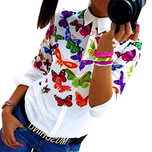 LHWY Donne Farfalla in Chiffon Top manica lunga camicia camicetta Casual (S)