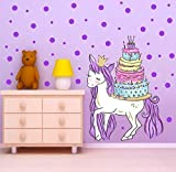 LYR123 Caja De Regalo De Color Mágico del Unicornio con La Torta De Cumpleaños Etiqueta De La Pared para El Fondo De La Decoración De La Pared Macetas Púrpura DIY Tatuajes De Pared Cartel