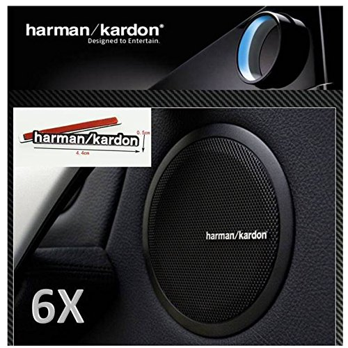 Price comparison product image 6 x ALUMINIUM HARMAN KARDON Speaker Logo Emblem Badge Sticker BMW MINI BENZ AUDI