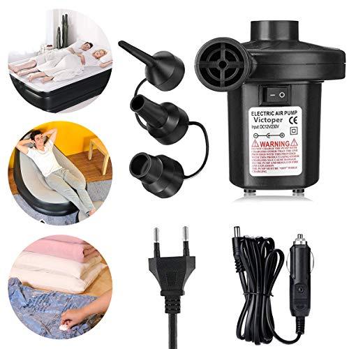 Gaoni pompa elettrica, pompa elettrica per materasso gonfiabile,gonfiabili veloci, usato per materassi, giocattoli gonfiabili,campeggio,anello nuotata,con 3 ugelli,230v/150w,portatile