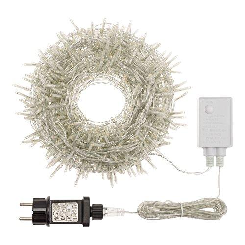 Catena 25,5 m, 360 miniled bianco caldo, mit memory controller, cavo trasparente, addobbi natalizi, catene luci per albero di natale, decorazione luminosa