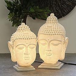 1x bombilla cabeza de Buda poliresina/fibra de vidrio crema (Casquillo E14, incluye bombillas, para interiores, exteriores, jardín, hogar