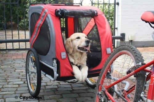Artikelbild: Hundefahrradanhänger DOGGY LINER ECONOMY, Farbe rot-grau