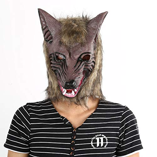 (Hanmarigold Erwachsene und Kinder Latex Tier Wolf-Kopf mit Haarmaske Kostüm-Party Scary Halloween mit Grauer Farbe (gelb))