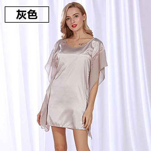 Pyjama de dentelle Ladies court ¨¤ manches longues Poly/coton Nightdress mode ¨¦t¨¦ Accueil jupe robe Gray