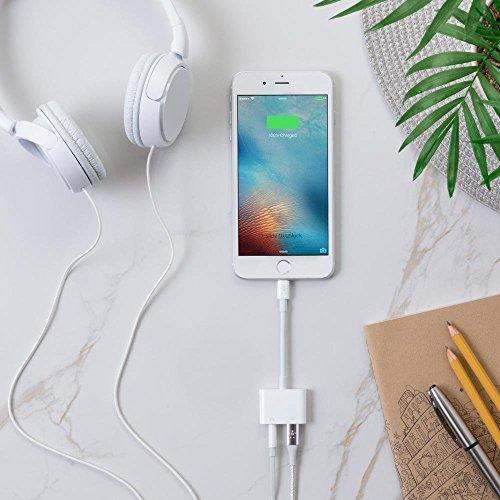 Tenwow Kopfhörer-Jack-Adapter-Zusätzen 3.5mm für iPhone X /8/8 Plus. Verbindungsstück zu 3.5 Millimeter. Kopfhörer Adapter & Lade Adapter, Blitzkabel [Audio + Lade + Musik]. Unterstützen iOS 12. - 3