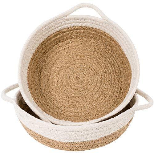 INDRESSME 2pack Cotton Rope Basket-Woven Storage Basket-9.8