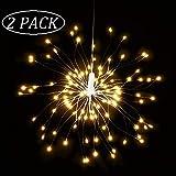 Qedertek Lichterkette Außen Batterie mit Fernbedienung, 120 LED Feuerwerk Lichterkette IP65 Wasserdichtmit, Blumenlicht Ideal für Weihnachten Dekoration, Garten, Terrasse,Hochzeit, Party (Warmweiß)