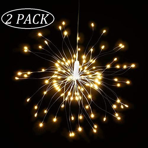Qedertek Lot de 2 Guirlande Lumineuse à Piles avec Télécommande 120 LED Lumière de Feux d'artifice avec 8 Modes d'éclairage Guirlande Lumineuse Noël pour Décoration Noël (Blanc Chaud)