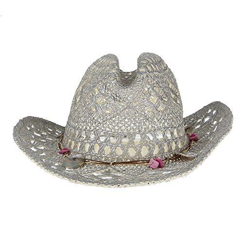 e Strohhut Für Frauen Aushöhlen Cowboy Hut Sommer Sonnenhut Damen Muscheln Dekor Breiter Krempe Strand Hut ()