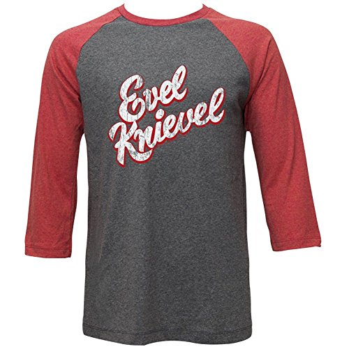 Evel Knievel Iconic Daredevil Legend Raglan-T-Shirt für Erwachsene Gr. XXL, mehrfarbig (Evel Knievel Kostüm Shirt)