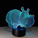 baby Q 3D LED Nachtlicht Lampe, Nashorn-Bunte Noten-Lichter, kreatives Geschenk-Acryllichter, USB-Lichter