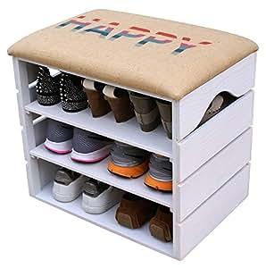 liza line schuhschrank aus holz schuhbank schuhregal wei mit gepolstertem sitz und. Black Bedroom Furniture Sets. Home Design Ideas