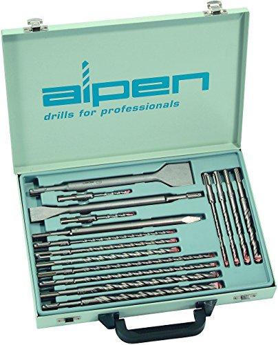alpen SDS-Plus Hammerbohrer F4 forte, 2 Schneiden und Meißel flach, spitz und breit als 16-teiliges Set im Metallkoffer, 500016100
