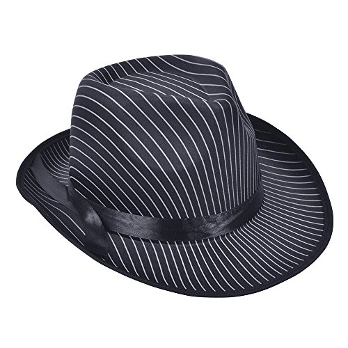 Bristol Novelty bh480Pin Stripe Gangster Hat, schwarz, one size Fedora-pin