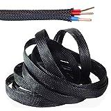 SENDILI Gewebter Kabelmantel - Schwarz Flexibler kabelkanal 10m Kabelschlauch mit Einstellbarem Durchmesser Cable Management, 6mm